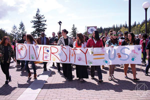 A diversity rally at Western Washington University in Bellingham, Wash.