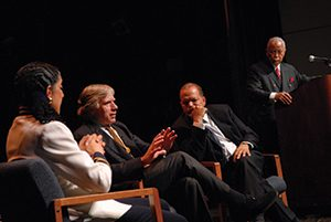 Columbia President Lee Bollinger (second from left) at a 2007 forum on the future of diversity and affirmative action at Harlem's Schomburg Center for Research in Black Culture, along with Harvard law professor Lani Guinier, then-Columbia law professor and former President of the NAACP Legal Defense and Educational Fund Theodore Shaw, and moderator, Columbia faculty member, and former New York City Mayor David Dinkins