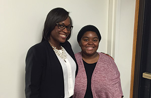 Mentor Ebony Miller, interim director of the Center for Urban Entrepreneurship at RIT, with her mentee Brianna Jones, a senior information technology major and first-generation student at RIT