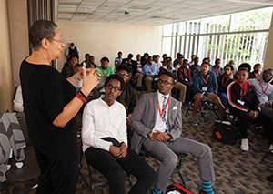 Dawn Bennett-Alexander addresses a group of students during the Georgia African American Male Experience. (photo by Chad Osburn)