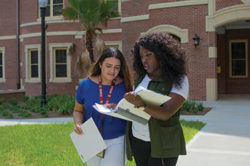 Students in FSU's Center for Academic Retention and Enhancement (CARE) navigate campus.