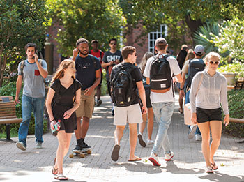 Students on Southern Methodist University's campus in Dallas, Texas