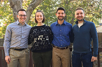 Hofstra University student assistants on Christina Ventura-DiPersia's LGBT health project (left to right) Franklin DeDominicis, Rebecca Worley, Daniel Spier, and Brian Clancy
