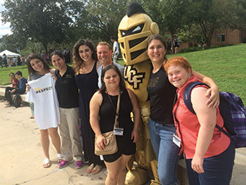 IES students participate in Rally for Respect, an event that previews UCF's Diversity Week and focuses on discussions about social justice and celebrating diversity.