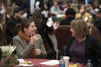 Two faculty members use sign language to converse during Virginia Tech's 2016 Advancing Diversity Workshop.