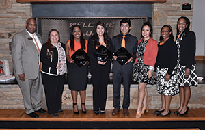 Staff and administrators from OSU's Division of Institutional Diversity, including Jason Kirksey (far left) and Jovette Dew (second from right), with three of the winners of the OSU Alumni Association's 2017 Outstanding Senior Award