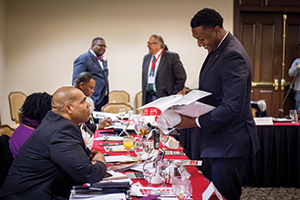Jabar Shumate speaks with D'Andre Fisher, special assistant to the vice president and director of operations for university community at OU.