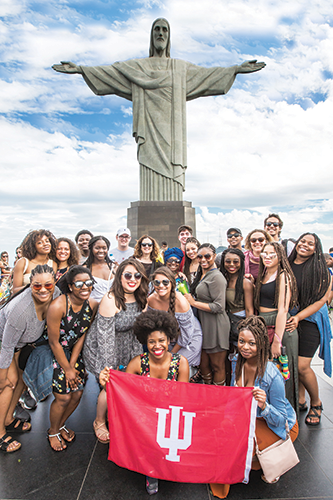 OSSP participants visit the famous Christ the Redeemer statue in Rio de Janeiro, Brazil, during a 2017 study abroad trip.