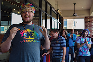 Students participate in the 2016 Queer as Kent event hosted by the LGBTQ Student Center.