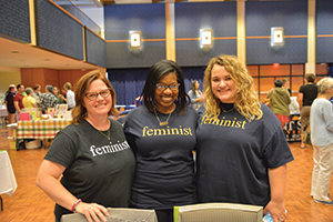 (From left) Cassie Pegg-Kirby, Assistant Director of the Women's Center Alicia Robinson, and Graduate Assistant Summer Wigley at the 2017LGBTQ Welcome Weekend on Kent State's campus.