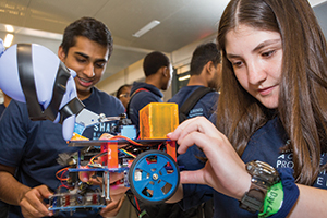 Students and staff in Columbia Engineering's SHAPE initiative participate in an introduction to robotics course.