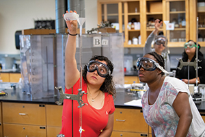 WSSU students conduct an experiment in the chemistry lab.