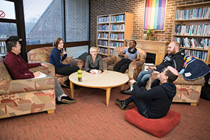 Students and staff in GVSU's Milton E. Ford LGBT Resource  Center, one of the university's five social justice centers