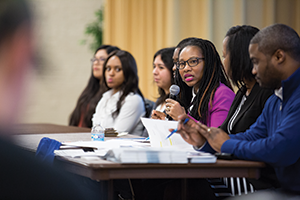 A panel discussion about meeting the needs of first-generation college students at GVSU