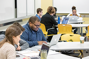 Georgia Tech School of Public Policy seniors Madeline Clowse and Darryl J. Terry II in class in January 2019 (Photo courtesy Georgia Tech Ivan Allen College of Liberal Arts)