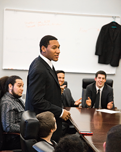 A Brother 2 Brother chapter member speaks to his peers at a meeting to plan outreach programs. (Photo courtesy ABH Studios)