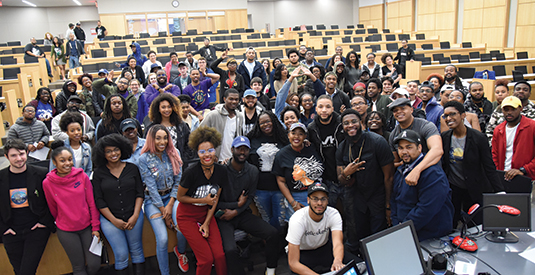 Guest speakers and students during student group Poetic Justice's Accountability Cypher event, a project funded by a UK Inclusive Excellence Program Grant