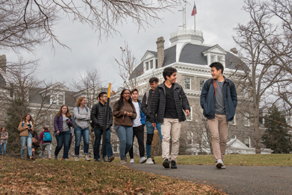 Students stroll the college's campus in Swarthmore, Pa.