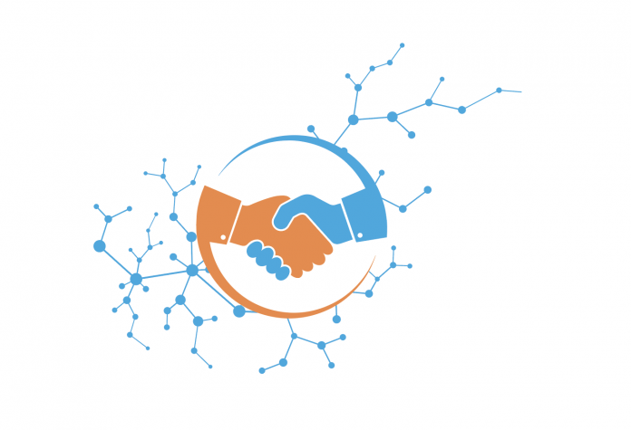 Graphic illustration of two hands shaking with a an illustration of a network in the foreground.