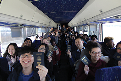 Lehigh students in the Passport for Success program aboard a bus for a weekend visit to Montreal, Canada.