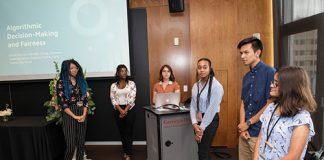 Students in the 2019 Carnegie Mellon University AI4ALL summer program take part in a group presentation to showcase their artificial intelligence research project.