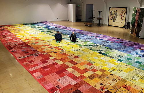 Pride Flag installment at the Museum of Latin American Art