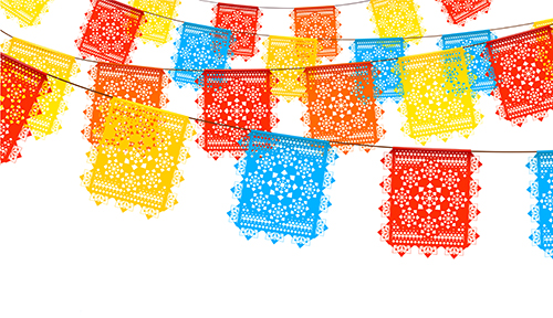 Yellow, blue, and red flags to symbolize National Hispanic Heritage Month