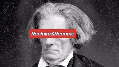 """Graphic created by the student group Reclaim&Rename that shows an image of Thomas Jefferson with the words """"Reclaim&Rename"""" covering his eyes."""