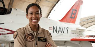 Lt. j.g. Madeline G. Swegle completed naval aviation training to become the first Black woman tactical fighter pilot in the history of the U.S. Navy.