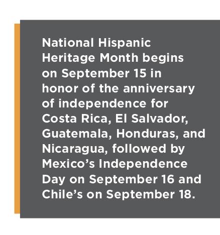 National Hispanic Heritage Month begins on September 15.