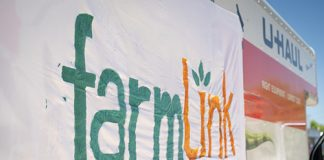 Photo of a flag that says FarmLink