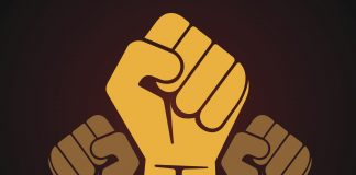 Illustration of fists of people of color raised in solidarity of racial justice,