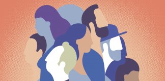 Graphic illustration that depicts a group of men and women of various races and ethnicities standing together