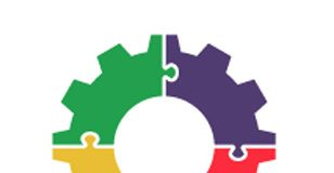 Graphic illustration of a gear symbolizing work