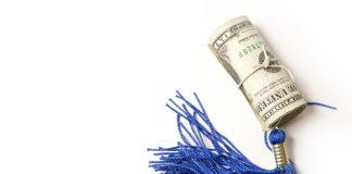 Photo of dollar bills wrapped around a graduation tassel