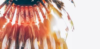 Photo of a Native American headdress from behind