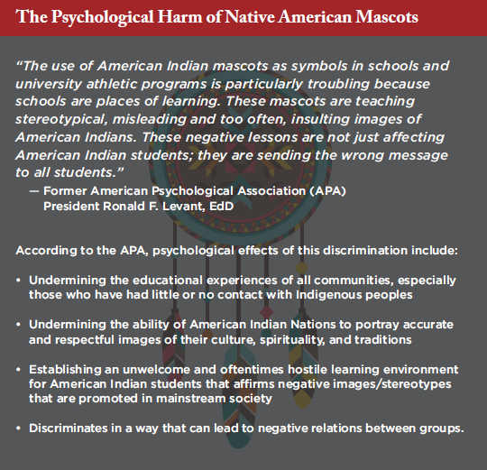 Text box containing information about the psychological harm of Native American mascots.
