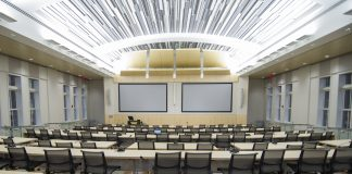 Photo of an empty lecture auditorium