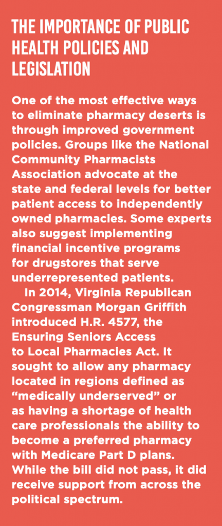 A text box describing how public health policies and legislation are critical to preventing pharmacy closures.