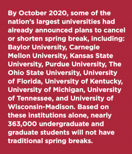 A text box listing the various colleges and universities that have canceled or shortened their spring breaks.
