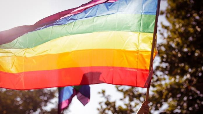 Photo of a person waving an LGBTQ flag