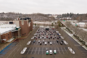 Overhead shot of the parking lot where the Ohio University and local community gathered for the 2021 MLK Jr Day events.