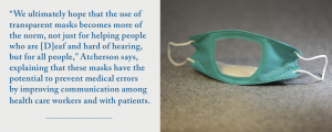 Photo of a transparent face mask accompanied by a quote from the article.