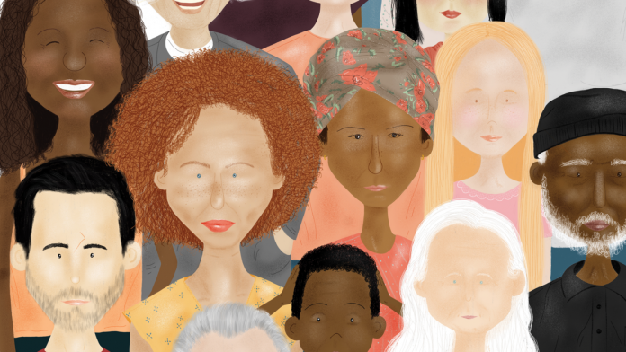 Illustration of diverse people in a crowd