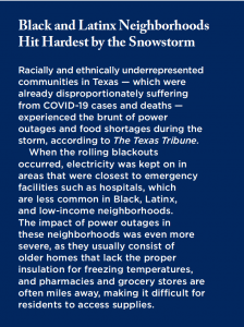 Text box describing how Black and Latinx neighborhoods were disproportionately impacted by the winter storm in Texas
