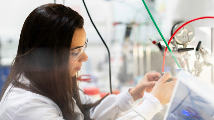 Photo of a woman engineer in a lab