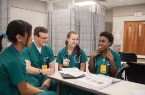 VCU School of Nursing students studying on the MCV Campus, home to many of the university's medical and health care programs.