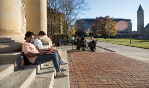 Cornell University students on campus.
